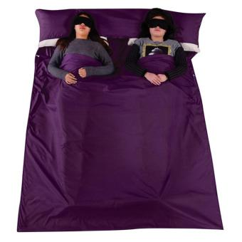 Outdoor Portable Soft Cotton 2 Person Couple Sleeping Bag with a Storage Bag for Travel Camping Hiking Hotel Dark Purple - intl