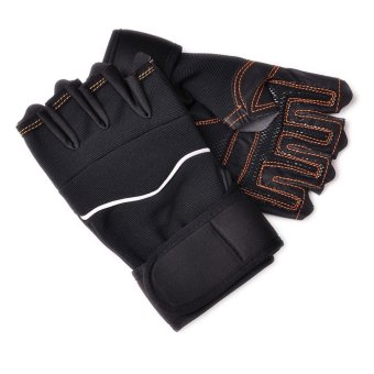 Outdoor Sport Gym Workout Weight Lifting Training Fingerless GlovesBlack