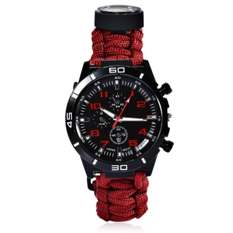 Outdoor Survival Watch Bracelet with Compass Flint Fire Starter Paracord Thermometer Whistle (Red)