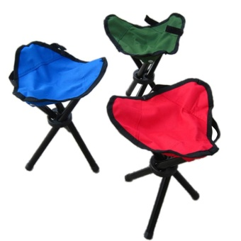 Outdoor Three-Legged Foldable Folding Stool Camping Beach FishingTravel chair - intl