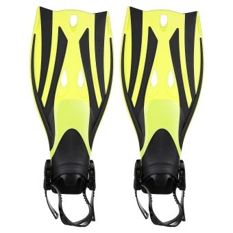 Pair of Wave Snorkeling Open Heel Fins Flippers - Size L/XL(Yellow)
