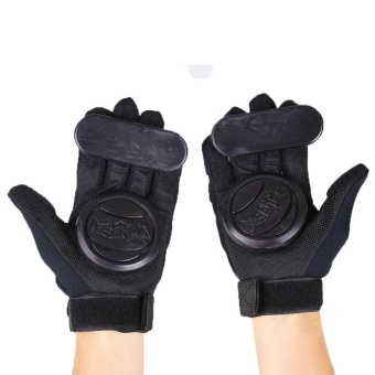 Pair Skateboard Freeride Grip Slide Protective Gloves Longboard with Foam Palm - intl