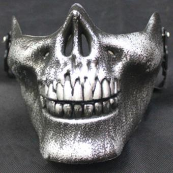 PAlight Plastic Horror Skull Jaw Mask Terror Half Face Shied Human Skeleton Warrior Ghost Mask for Halloween Party - intl