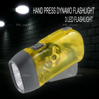 Ph_Store New Style Hand Pressing Power Charging Flashlight Bright 3LED Torch Light (Yellow) Price Philippines