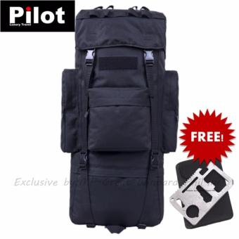 Pilot Army Fans S-511 Outdoor Sports Travel Backpack Large Capacity Multifunctional Waterproof Practical Mountaineering Bag Training Scouts Camping Hiking Men's Best Gift (Black)FREE Army Multifunction Card