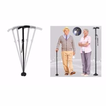 Portable Retractable Adjustable Foldable Smart Elderly WalkerFolding Crutch Cane Walking Stick With LED