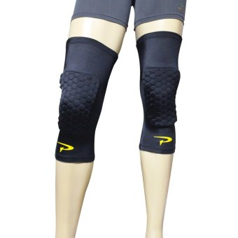 PROCARE COMBAT #CSX02 Dri-Quik Compression Knee Hex Padded Sleeves with Top Anti-Slip, Pair (Black)