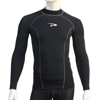 PROCARE MARINE #RT105 Men Rash Guard High Neck UV Protection UPF30+for Swimming Diving Snorkeling (Black/Gray FlatLock Seam)