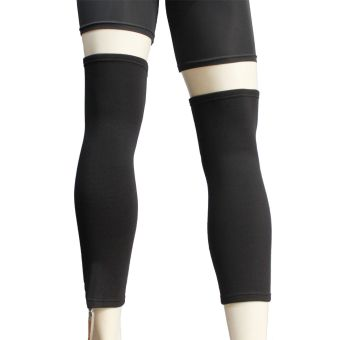 PROCARE PROTECT #6044 Leg Sleeves 17-inch, Thigh Knee Shin Support,Elastic 4-way Spandex Seamless PAIR (Black) - 3