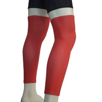 PROCARE PROTECT #6044UR Leg Sleeves 17-inch, Thigh Knee ShinSupport, Elastic 4-way Spandex Seamless PAIR (Red) - 2