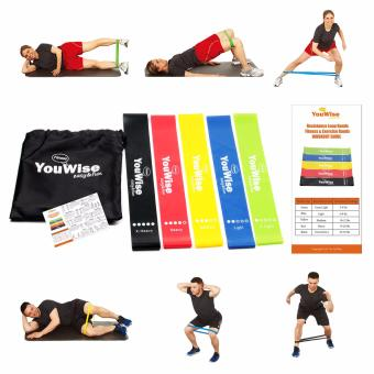 Resistance Loop Bands-YouWise(TM) Mini Fitness Workout Exercise 5 Bands Set with Carry Bag Bonus Instructional eBook - intl