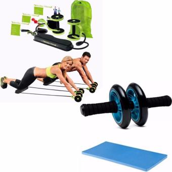 Revoflex Xtreme (Green)With Abdominal Wheel Gym Exercise Rollerwith Extra Thick Knee Pad Mat-for Best Abs Workout-perfect FitnessEquipment (Blue)
