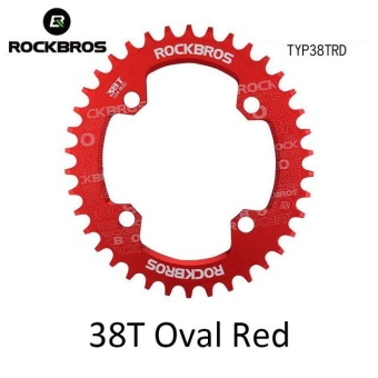 ROCKBROS 32T/34T/36T/38T Crankset MTB Bike Bicycle Parts Oval RoundBicycle Bike Crank & Chainwheel 104BCD Wide NarrowChainring(38T Oval Red) - intl