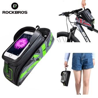 ROCKBROS Bicycle Front Top Tube Bag Cycling Bike Frame SaddlePackage For Mobile Phone Waterproof Touchscreen Bike AccessoriesFour Colours Two Sizes (6.0'' Touch Screen Green)