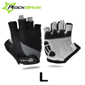 RockBros Size L Half Finger Cycling Gloves Guantes Ciclismo Gel Shockproof Breathable MTB Bike Gloves Bicycle Gloves Black