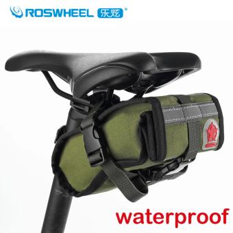Roswheel 1L Waterproof MTB Mountain Road Bike Bag Bicycle Saddle Bag Cycling Rear Seat Bag Accessories, Army Green
