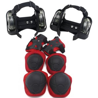 Small Whirl Wind Pulley with Cool Flashing LED Lights (Black) With Protective Pads for Cycling 6-piece Set (Red)