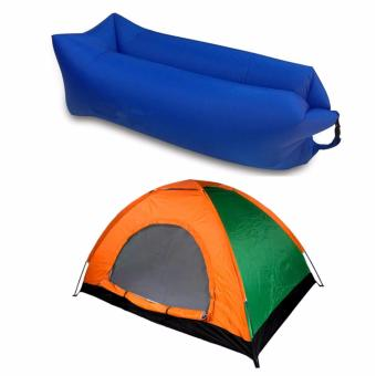SNS 6 Person Automatic Family Camping Tent with Inflatable Air BagSofa Lounger Outdoor Beach Camping Sleeping Lazy Bed - Yellow