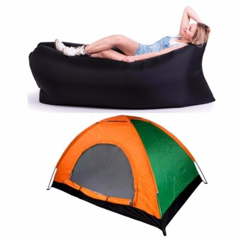 SNS 8 Person Family Camping Tent with Fast Inflatable Sleeping Bed Folding Sofa/Chair (Black)