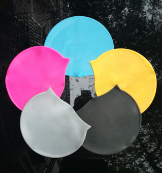 Solid color waterproof care hair swimming cap silicone swimming cap