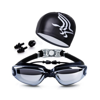 Swim Goggles + Swim Cap + Case + Nose Clip + Ear Plugs,Clear Swimming Goggles Coated Lens No Leaking Anti Fog UV Protection for Adult Men Women Youth Kids Child,Black - intl