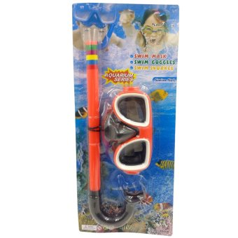 Swimming Goggles Snorkel Mask with Anti-fog Silicone Set (Orange)
