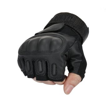 Tactical Motorcycle Gloves For Men Military Outdoor Airsoft Paintball Army Leather Mittens Fingerless Gloves Black (Intl) - 3