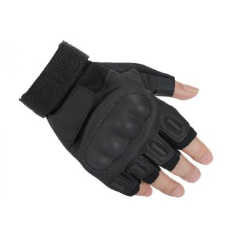 Tactical Motorcycle Gloves For Men Military Outdoor Airsoft Paintball Army Leather Mittens Fingerless Gloves Black (Intl)