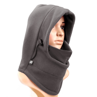 Thicken Warm Fleece Mask Balaclava Full Face Cover Winter Ski Riding Windproof Outdoor Sports Mask Beanie Hat Cap Grey