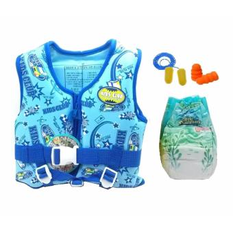 Timo Printed Life Jacket/ Life Vest/ Swim Vest for Kids (Blue) withHuggies Diaper and 3M Earplugs