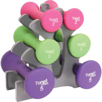 Tone Fitness Dumbbell Set of 3 (Multicolor) With Rack