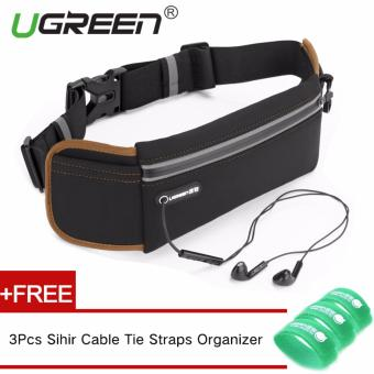 UGREEN Waterproof Adjustable Nylon Lycra Belt Jogging Belt Running Waist Bag Sport Bags for Sports Camping Hiking (Black)