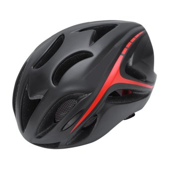 Ultralight EPS Bicycle Helmet Safety Mountain Bike Helmet with Comfortable Pads (Black and Red) - intl
