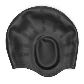 Unisex Adult Silicone Stretch Swimming Long Hair Cap Hat With Ear Cup Protection Black - INTL