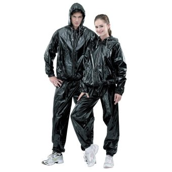 Unisex Hooded Sauna Suit with Zipper XXL (Black)