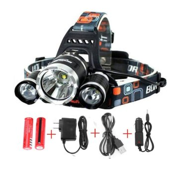 Waterproof 3x XML T6 LED Headlamp for Outdoor Hiking Fishing -Rechargeable Super Bright Headlight for Reading Outdoor RunningCamping Fishing Walking