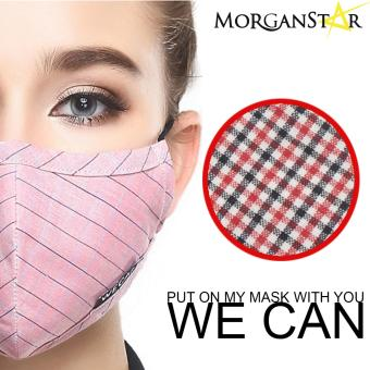 Wecan 2.5 pm dustproof checkered cotton face masks with activatedcarbon (Female) (RedandBlack)