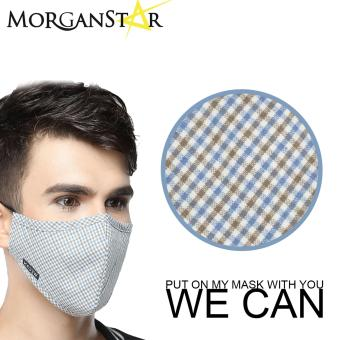 Wecan 2.5 pm dustproof checkered cotton face masks with activatedcarbon (Male) (BrownandBlue)