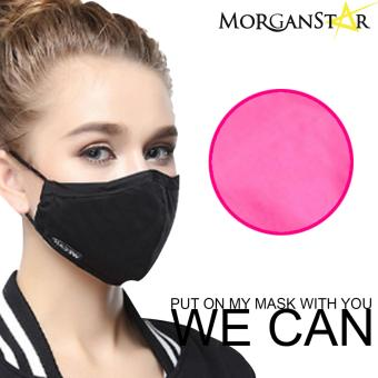 Wecan 2.5 pm dustproof plain cotton face masks with activatedcarbon (Female) (HotPink)
