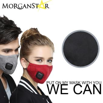 Wecan 2.5 pm dustproof plain cotton face masks with filter breathing valve (Female) (Black)