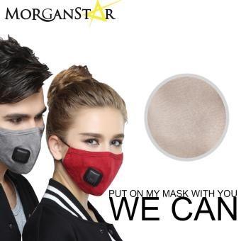 Wecan 2.5 pm dustproof plain cotton face masks with filterbreathing valve (Cream) (Male)