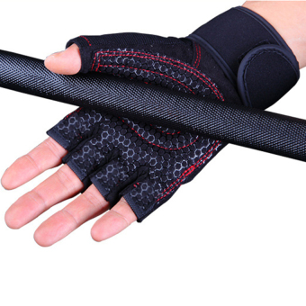 Weight Lifting Gym Fitness Gloves with Wrist Wrap and Grip - ForMen's and Women's - Half-Finger Design Padded Breathable WashableQuality Material Red L - intl - 5