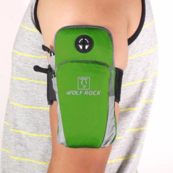 Wolf Rock Arm Bag Running Jogging Gym Cycling Armband Arm Band Holder Bag For Mobile Phones (Green)