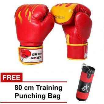 Wolon Fire Twins Boxing Gloves 10oz (Red) with FREE 80 cm TrainingPunching Bag