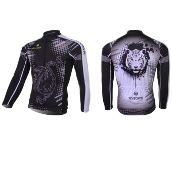 XINTOWN 7554 Men's Cycling Jersey Tops Long Sleeve Dragon and Dots
