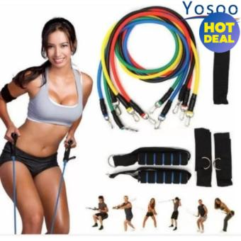 Yoga Fitness Exercise Resistance Bands Stretch Heavy Duty TubesWith blue handle - intl