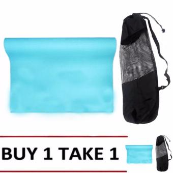 Yoga Mat 68x24 (Blue Green) Buy 1 Take 1 with Cloth Net TextureYoga Mat Bag(Black)
