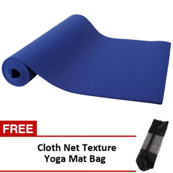 Yoga Mat 68x24 (Navy Blue) With Free Cloth Net Texture Yoga Mat Bag(Black)