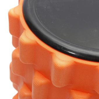Yoga Physio Gym EVA Grid Foam Roller Pilates Back Massage Orange 32x12cm - picture 4