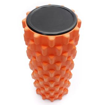 Yoga Physio Gym EVA Grid Foam Roller Pilates Back Massage Orange 32x12cm (Intl) - picture 2
